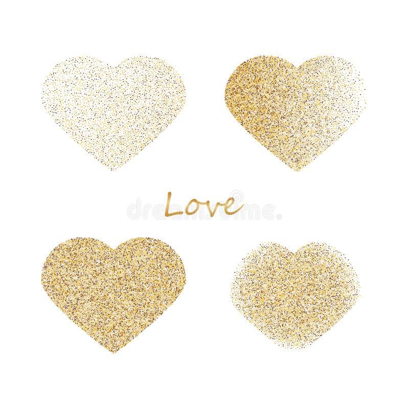 De vormen van vier verschillende harten van gouden schitteren en doorboren zich verspreiden geïsoleerd op wit E stock afbeeldingen