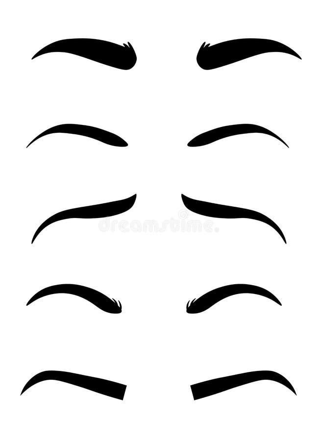 De vormen van de Webwenkbrauw Diverse types van wenkbrauwen Klassiek type en andere trimming Vector illustratie vector illustratie