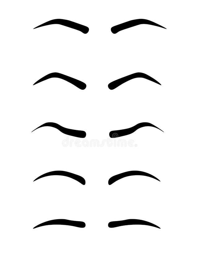 De vormen van de Webwenkbrauw Diverse types van wenkbrauwen Klassiek type en andere trimming Vectorillustratie met verschillende  stock illustratie