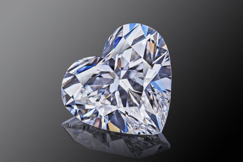 De vormhart van de luxe die sneed het kleurloze transparante fonkelende halfedelsteen diamant op zwarte achtergrond wordt geïsole royalty-vrije stock afbeelding