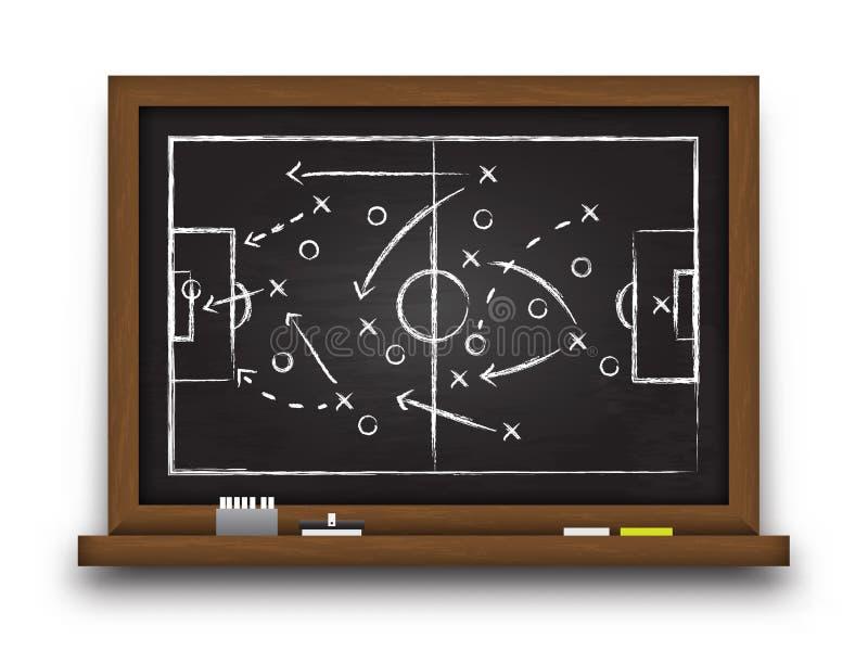 De vorming en de tactiek van de voetbalkop Bord met de strategie van het voetbalspel Vector voor de internationale toernooien van royalty-vrije illustratie