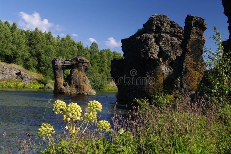 De vorming van de lava in Myvatn, IJsland stock fotografie