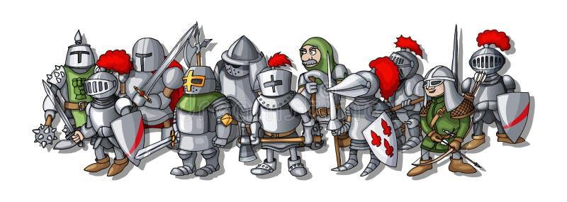 De vorming van de koninkrijksoorlog Beeldverhaalillustratie van verschillende riddersschets royalty-vrije illustratie