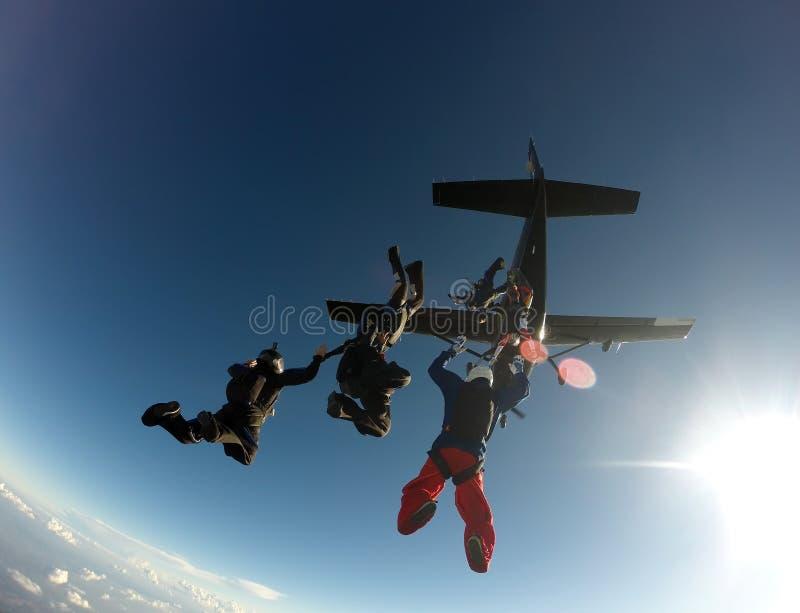 De vorming van de Skydivingsgroep stock fotografie