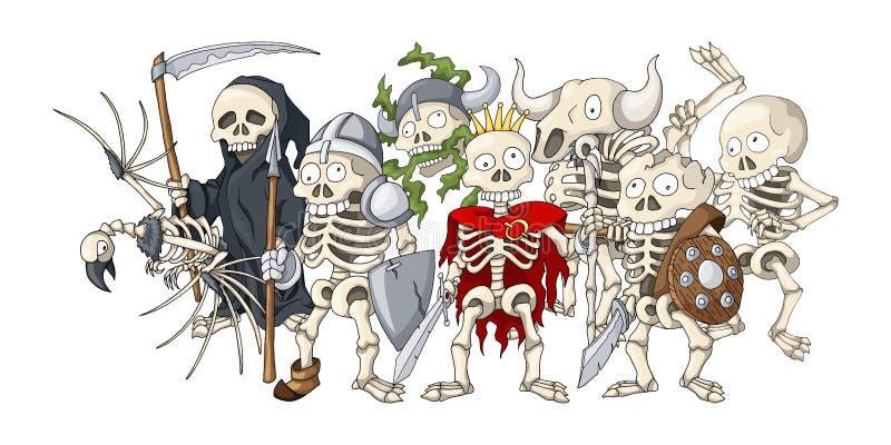 De vorming van de Undeadoorlog Beeldverhaalillustratie van verschillende skelettenschetsen stock illustratie