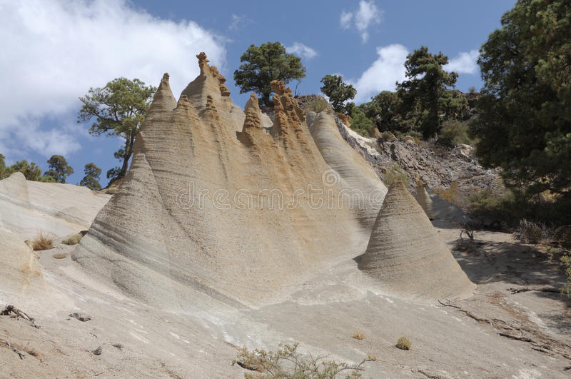 De Vormingen van de rots Paisaje Maan, Tenerife stock foto's