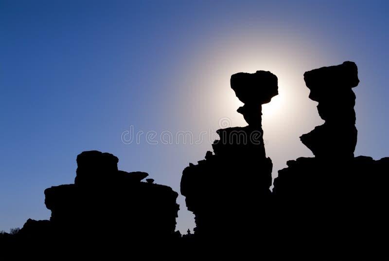 De vormingen van het zandsteen in Ischigualasto, Argentinië. stock afbeeldingen