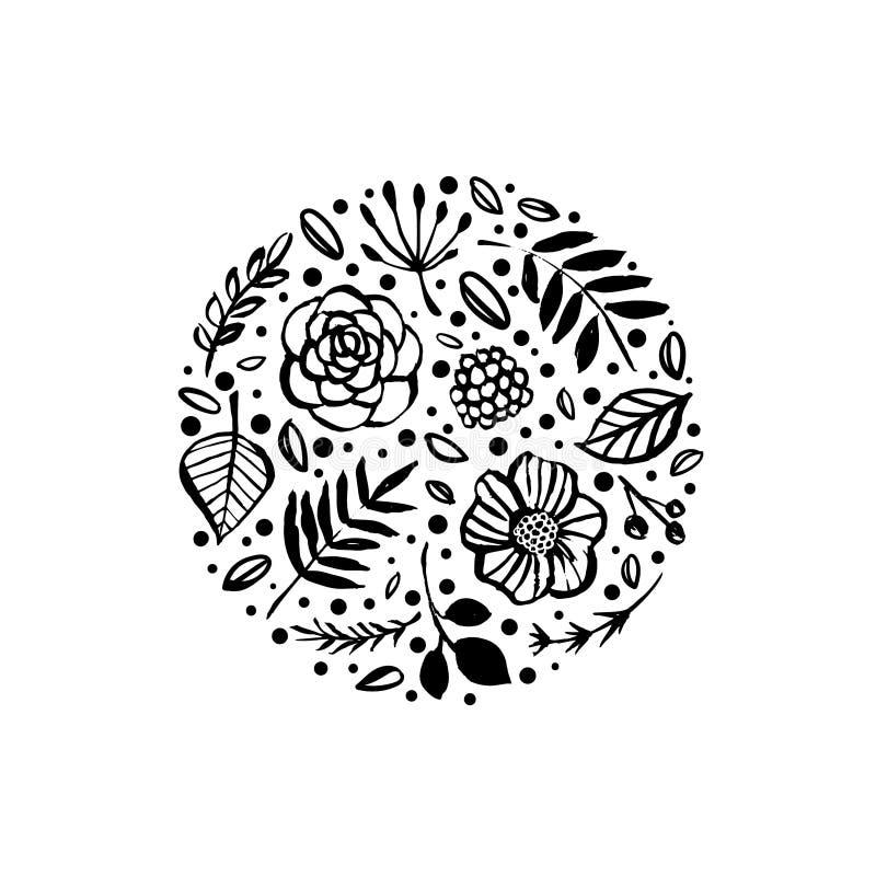 De vormpatroon van de bloemcirkel Bloemen botanische elementen Hand dra royalty-vrije illustratie