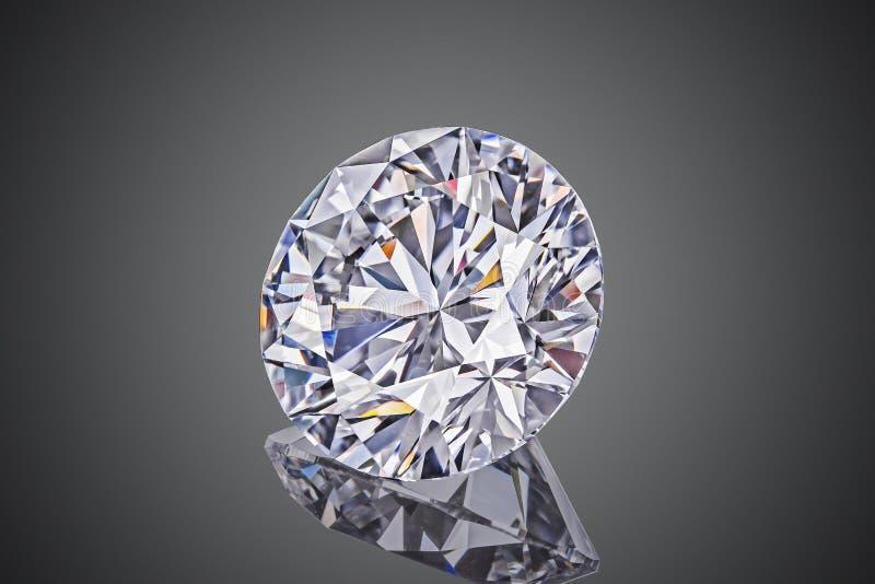 De vormronde van de luxe die sneed de kleurloze transparante fonkelende halfedelsteen diamant op zwarte achtergrond wordt geïsole stock afbeelding