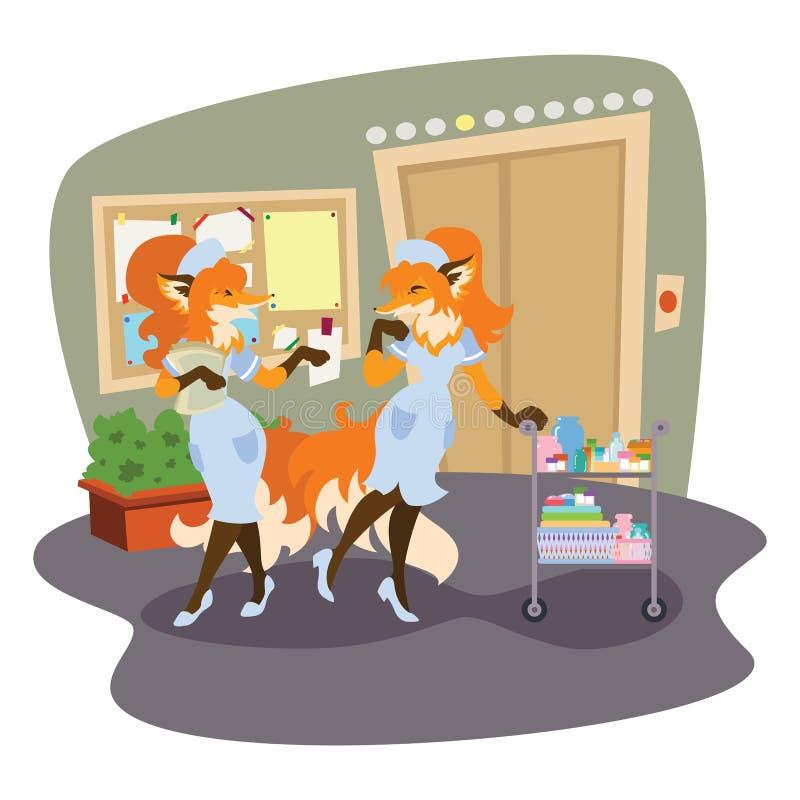 De vossen zijn verpleegsters in het ziekenhuis stock illustratie