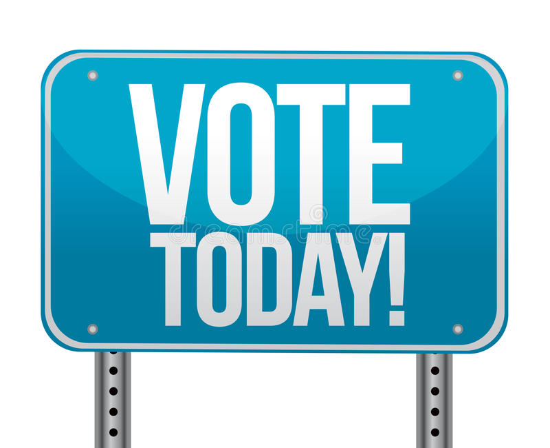 De vote signe bleu aujourd'hui illustration stock