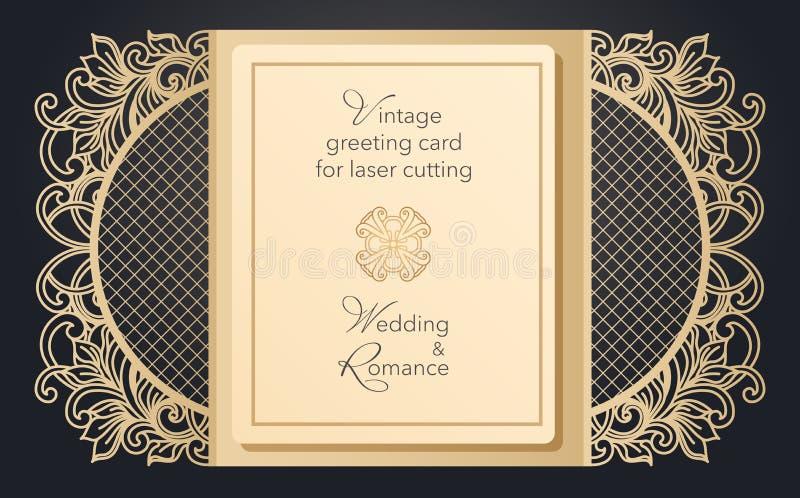 De vouwbare poort van de groetkaart voor laserknipsel Gevoelig patroon voor een huwelijk, een romantische partij Gesneden ontwerp royalty-vrije illustratie