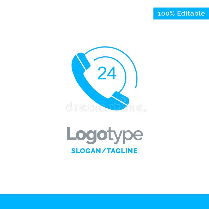 De vraag, Mededeling, Telefoon, steunt Blauw Stevig Logo Template Plaats voor Tagline vector illustratie