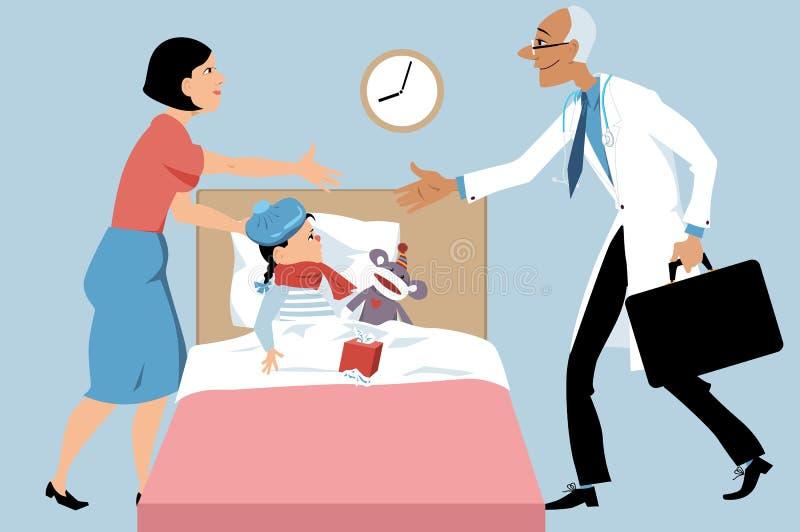 De vraag van het pediaterhuis stock illustratie