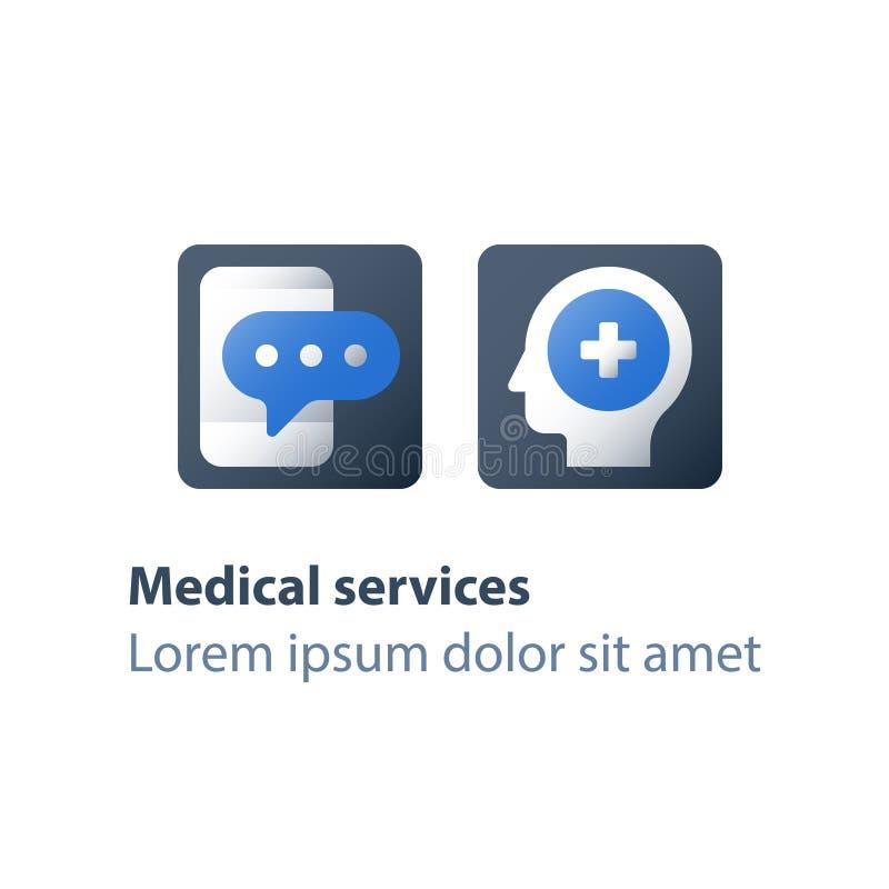 De vraag van de psycholoog hotline, medisch overleg, het ziekenhuishelpdesk, anoniem telefoongesprek stock illustratie