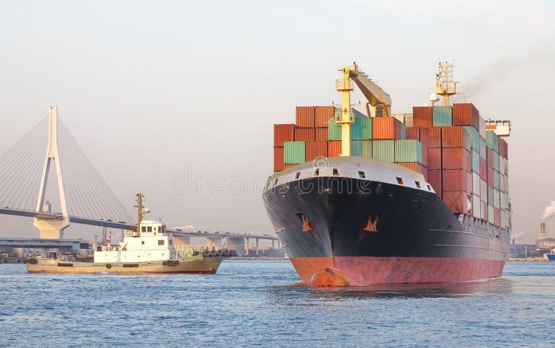De vrachtschip van de containerlading royalty-vrije stock fotografie