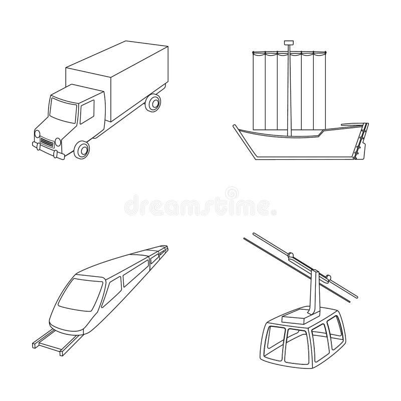 De vrachtwagen, de boot, de metro, de kabelwijzen van vervoer Pictogrammen van de vervoer de vastgestelde inzameling in overzicht royalty-vrije illustratie