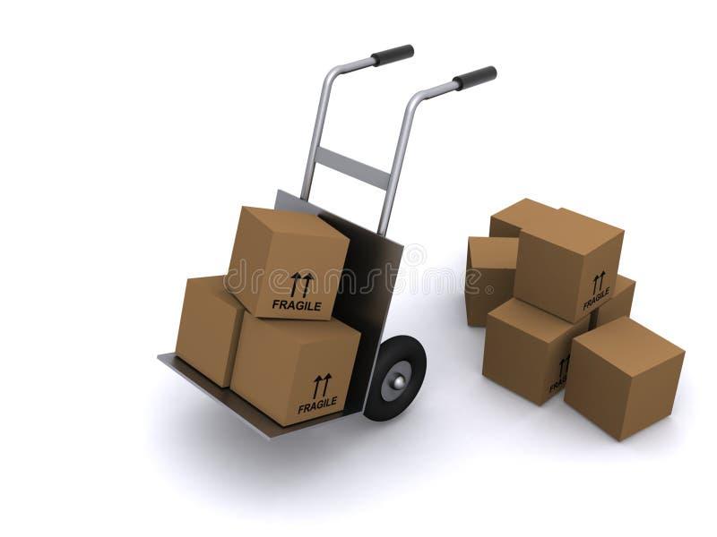 De vrachtwagen en de dozen van de hand vector illustratie
