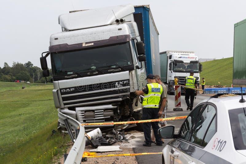 De vrachtwagen ging van Salaspils naar Kekava, ging Ford voor royalty-vrije stock foto's