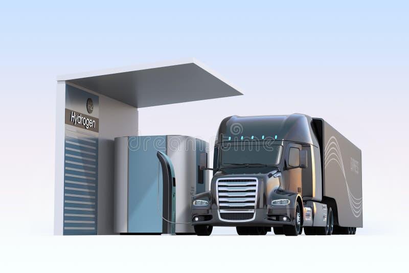 De vrachtwagen van de brandstofcel aangedreven het vullen gas in de Waterstofpost van de Brandstofcel stock illustratie