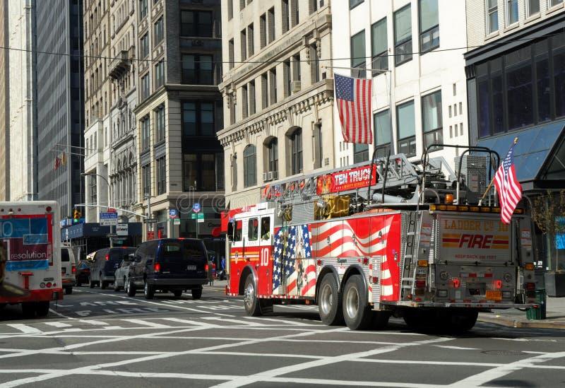 De vrachtwagen van de brand in de Stad van New York royalty-vrije stock foto's