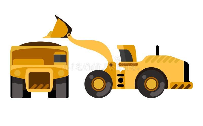 De vrachtwagen van de de ladingsstortplaats van de wiellader royalty-vrije illustratie