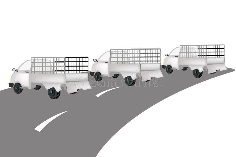 De Vrachtwagen van de drie Bestelwagenlading op de Weg vector illustratie
