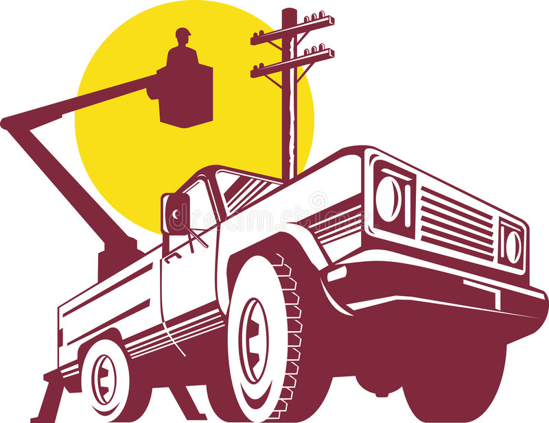 De vrachtwagen van de emmer met lijnwachter vector illustratie
