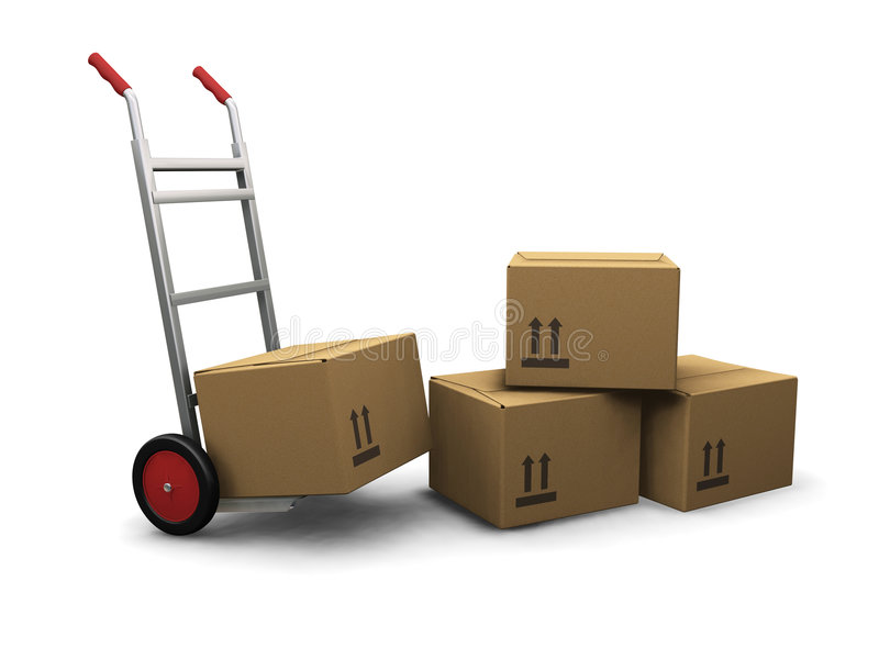 De vrachtwagen van de hand met dozen vector illustratie