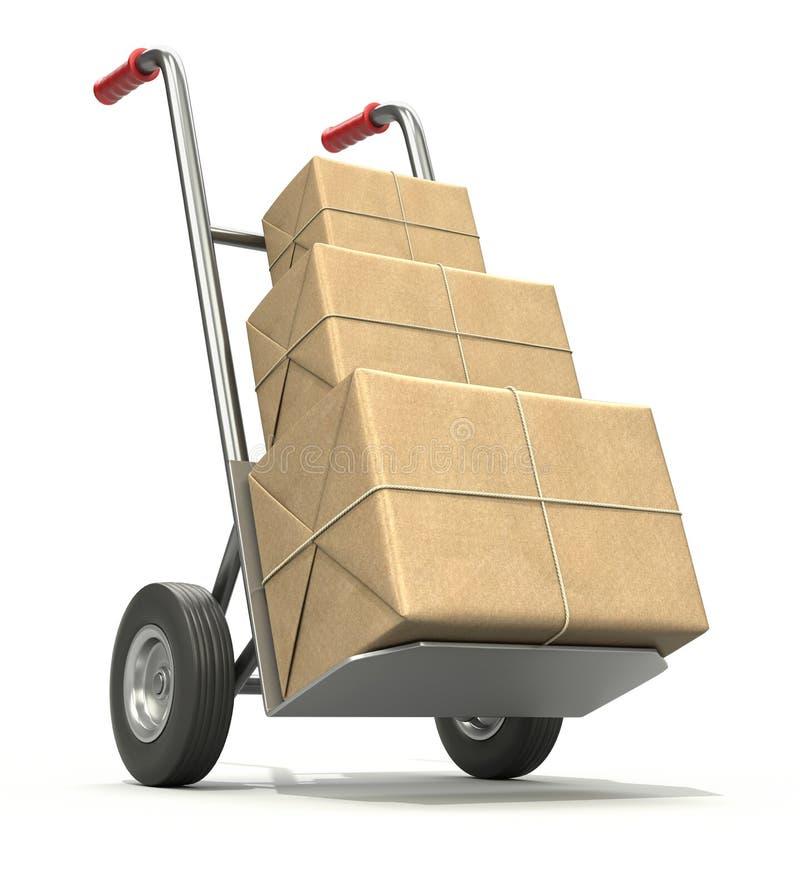De vrachtwagen van de hand met drie postpakketten