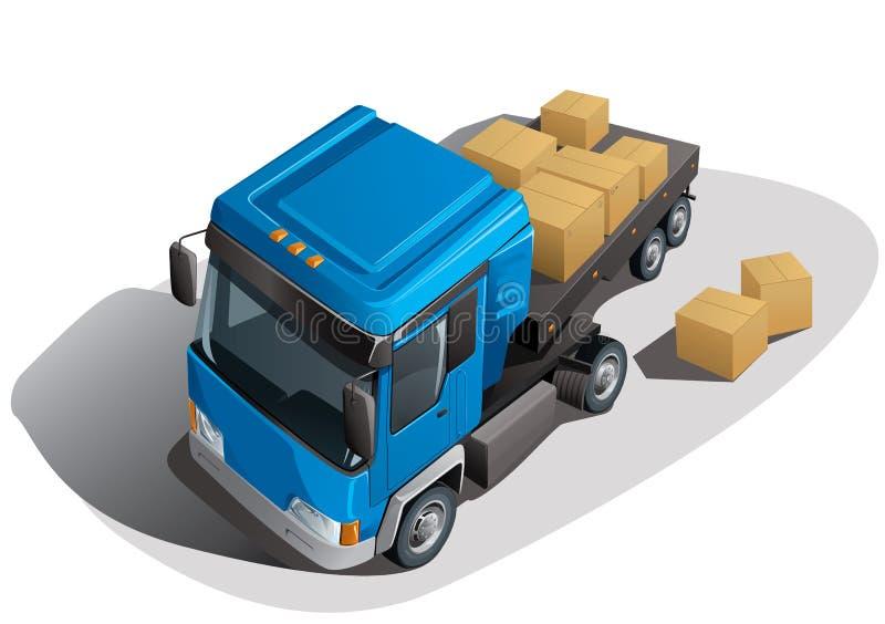 De vrachtwagen van de lading met dozen royalty-vrije illustratie