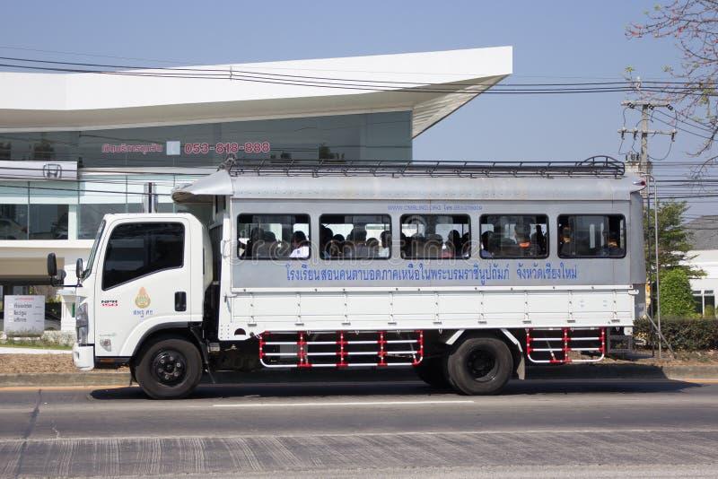 De Vrachtwagen van de schoolbus van de School van de Noordelijke regio voor Blinden royalty-vrije stock afbeelding