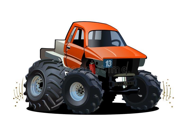 De Vrachtwagen van het Monster van het beeldverhaal die op witte achtergrond wordt geïsoleerd royalty-vrije illustratie