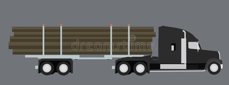 De vrachtwagen van het registreren Houten vervoer Vector illustratie royalty-vrije stock fotografie