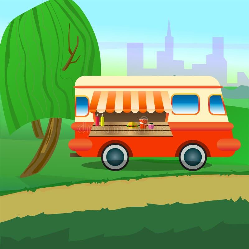 De vrachtwagen van het straatvoedsel met een paraplu voor een koffie in het centrale park royalty-vrije illustratie