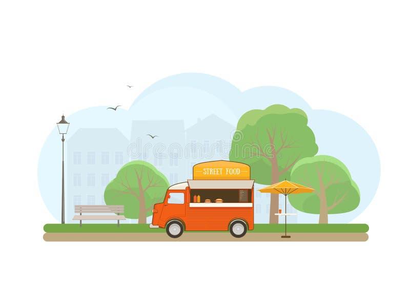 De Vrachtwagen van het straatvoedsel in Stadspark stock illustratie