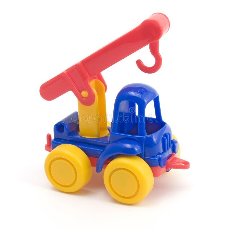 De vrachtwagen van het stuk speelgoed met kraan royalty-vrije stock foto