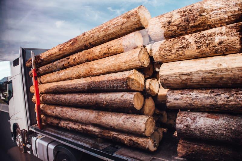 De vrachtwagen van het vrachtwagenlogboek draagt logboeken royalty-vrije stock afbeelding