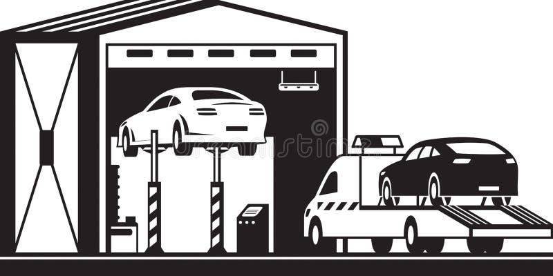 De vrachtwagen van de kant van de weghulp brengt auto aan de dienst royalty-vrije illustratie