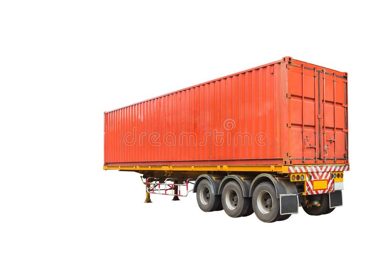 De vrachtwagen van de ladingsaanhangwagen met oranje container isoleert op witte achtergrond stock foto's
