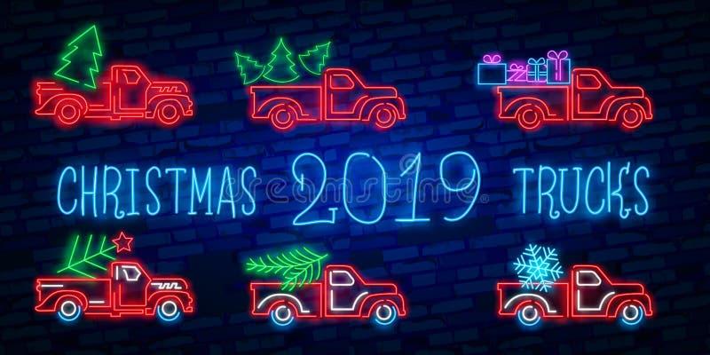De vrachtwagen van neonkerstmis De uitstekende vector rode vrachtwagen van illustratiekerstmis met een Kerstboom Retro neonkaart royalty-vrije illustratie