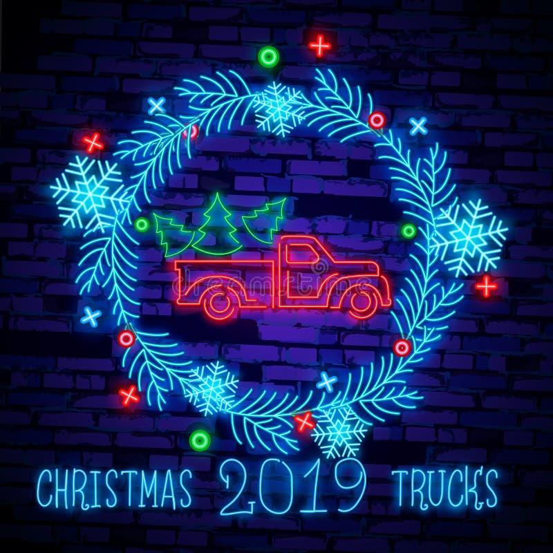 De vrachtwagen van neonkerstmis De uitstekende vector rode vrachtwagen van illustratiekerstmis met een Kerstboom Retro neonkaart vector illustratie