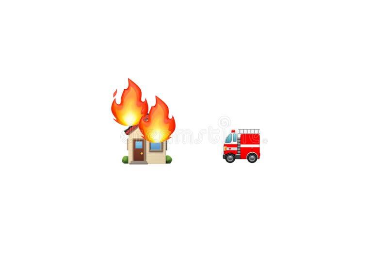 De vrachtwagen van de noodsituatiebrand en brandend huis met vlammen grafisch middel stock foto's