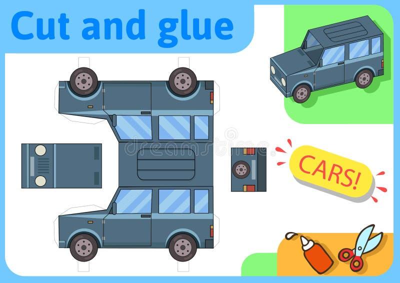 De vrachtwagendocument van SUV off-road model Het kleine project van de huisambacht, document spel Verwijderd, vouwen en lijm Kni royalty-vrije illustratie