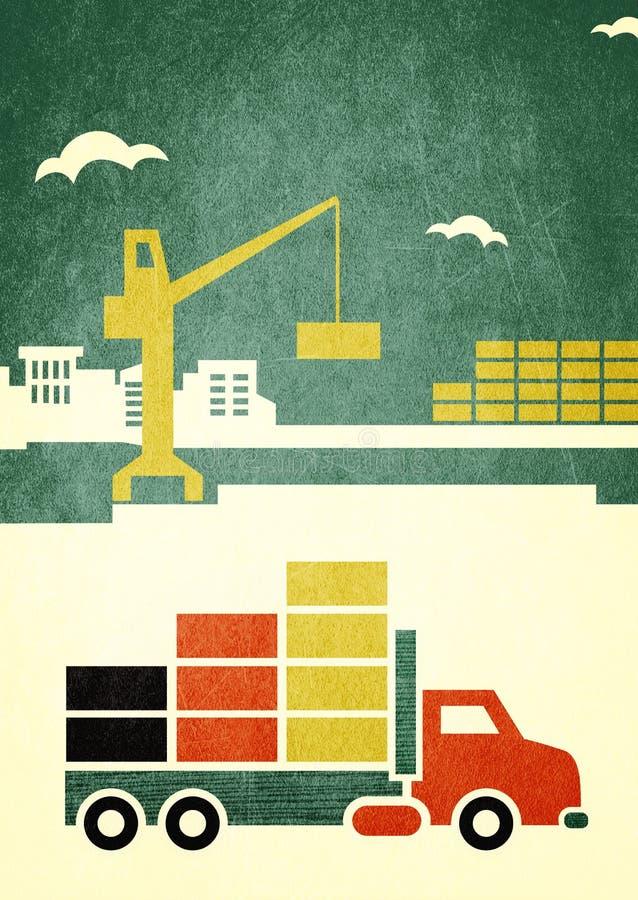 De vrachtwagengrafiek van de lading vector illustratie
