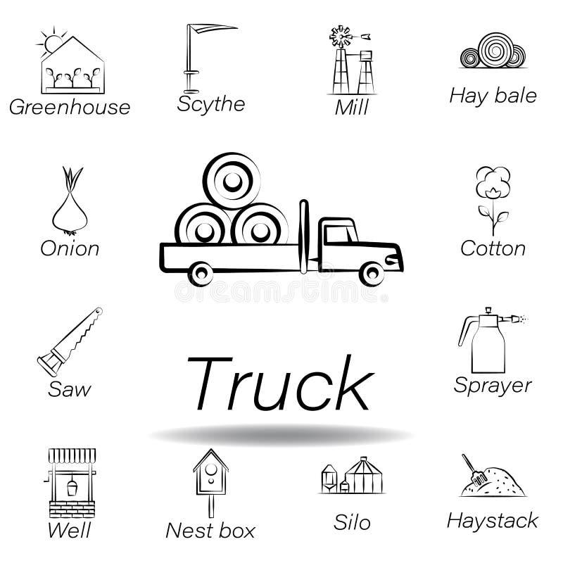 De vrachtwagenhand trekt pictogram Element van de landbouw van illustratiepictogrammen De tekens en de symbolen kunnen voor Web,  royalty-vrije illustratie