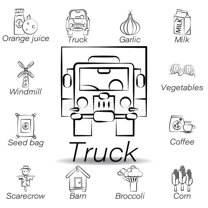 De vrachtwagenhand trekt pictogram Element van de landbouw van illustratiepictogrammen De tekens en de symbolen kunnen voor Web,  vector illustratie