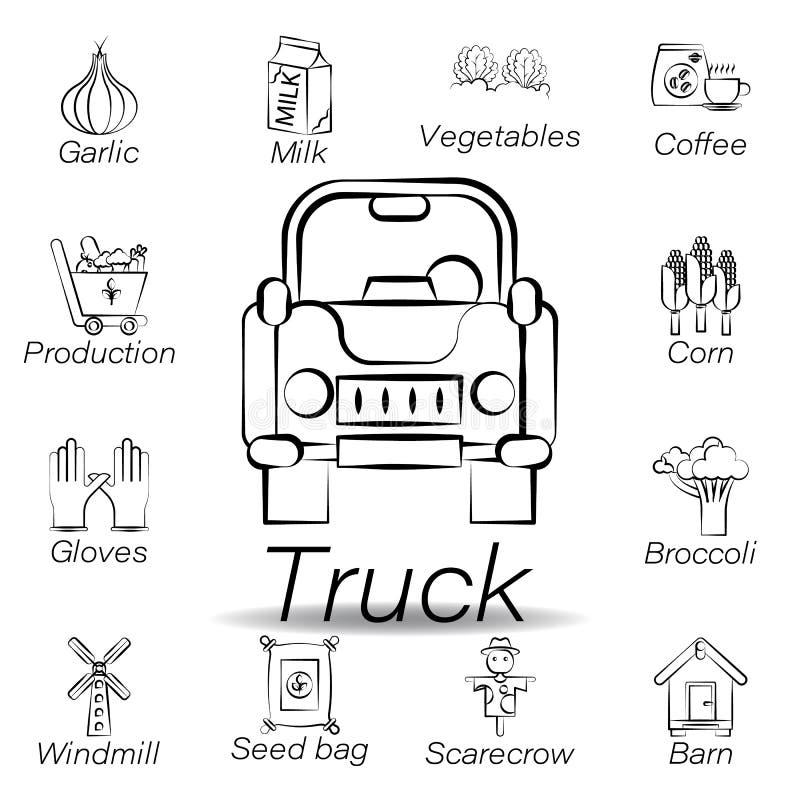 De vrachtwagenhand trekt pictogram Element van de landbouw van illustratiepictogrammen De tekens en de symbolen kunnen voor Web,  stock illustratie