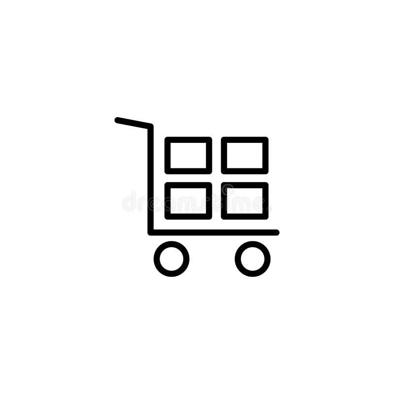 de vrachtwagenpictogram van de lijnhand op witte achtergrond royalty-vrije illustratie