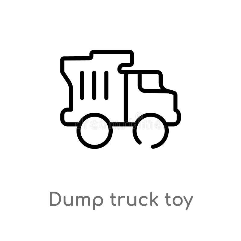 de vrachtwagenstuk speelgoed van de overzichtsstortplaats vectorpictogram de geïsoleerde zwarte eenvoudige illustratie van het li royalty-vrije illustratie